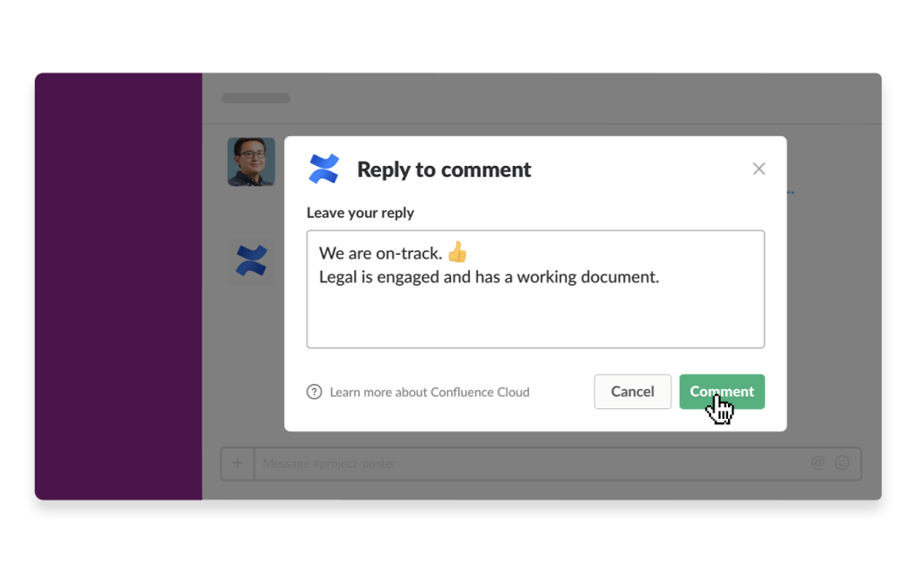 An image of the Confluence app in Slack
