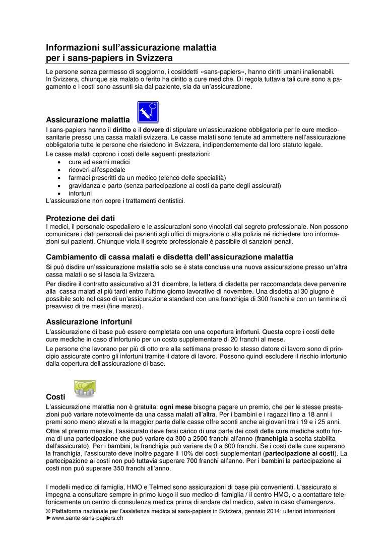 Informazioni sull\'assicurazione malattia per i sans-papiers ...