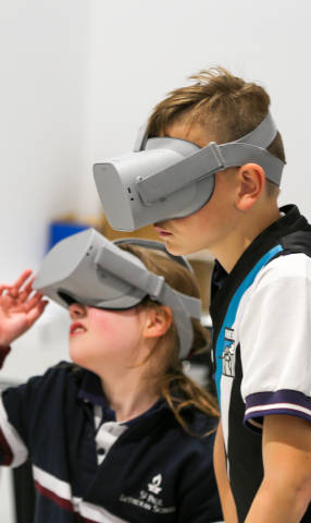 Kids enjoying virtual reality experience