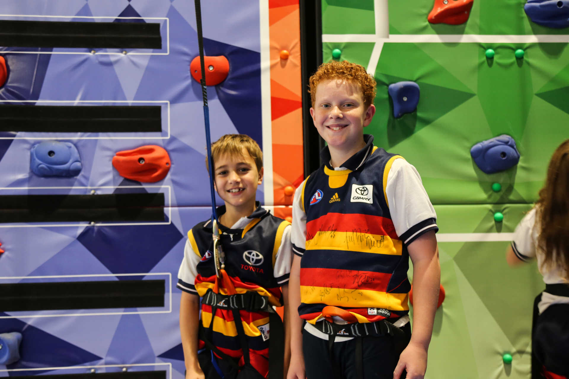 Two boys ready for climbing