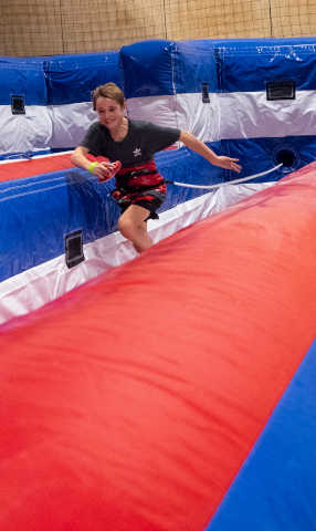 Child attempting the Bungee Run