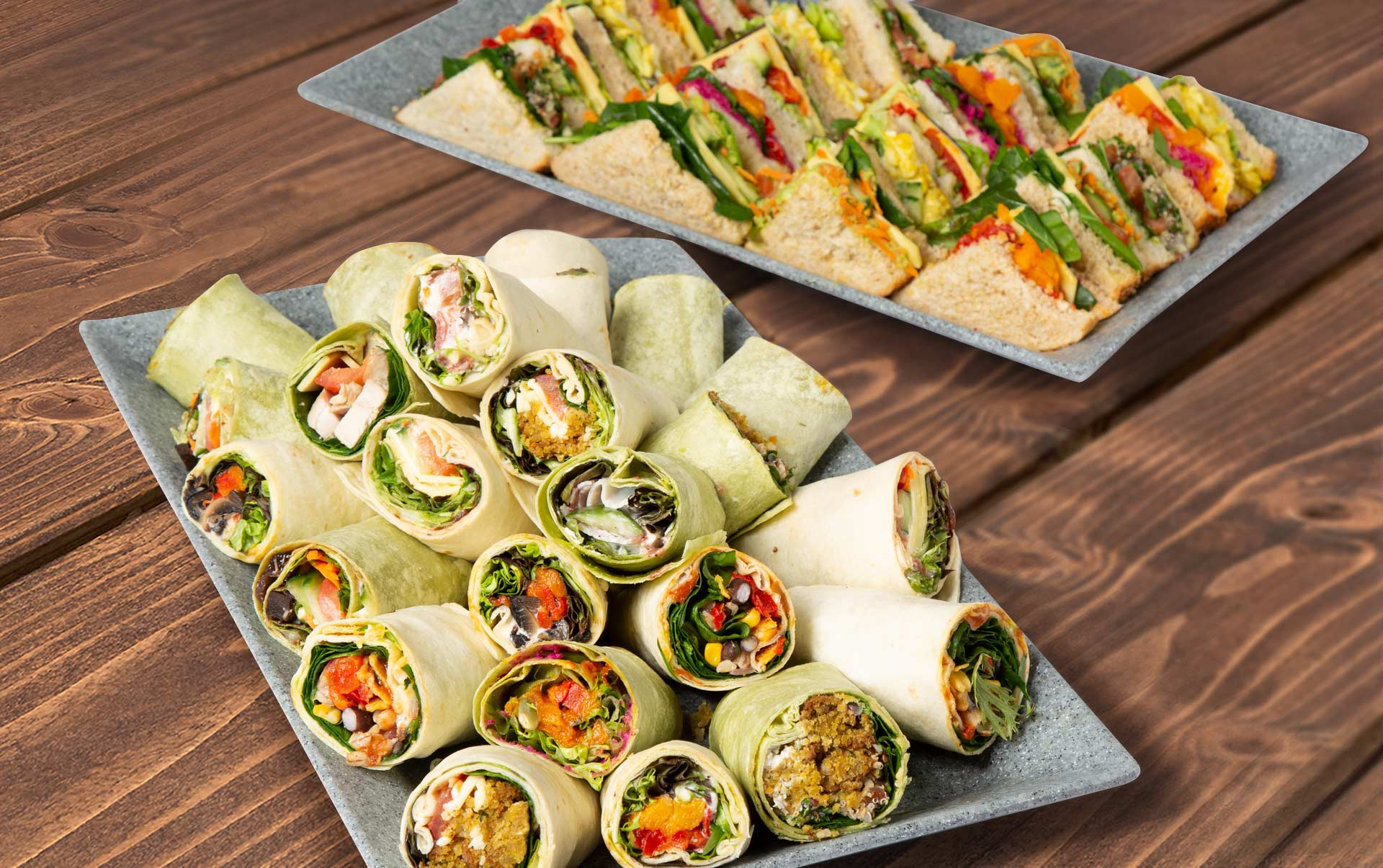 Platter of sandwiches and wraps
