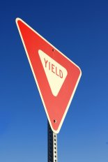 Yield printed on a sign