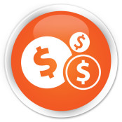 dollar icon orange button image