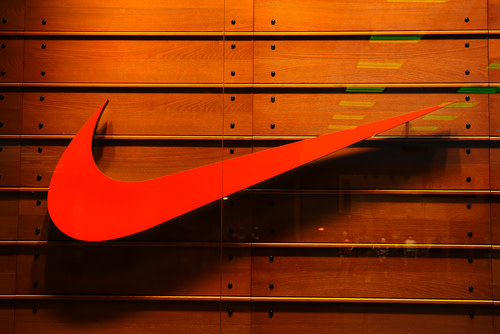 Nike Logo on Wood