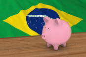 Piggy Bank and Brazilian Flag