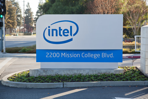Intel Logo on a Building