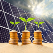 coins with solar panels