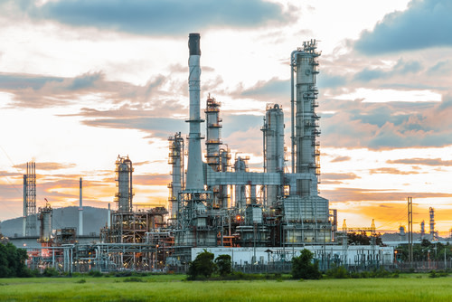 Natural gas plant stock image