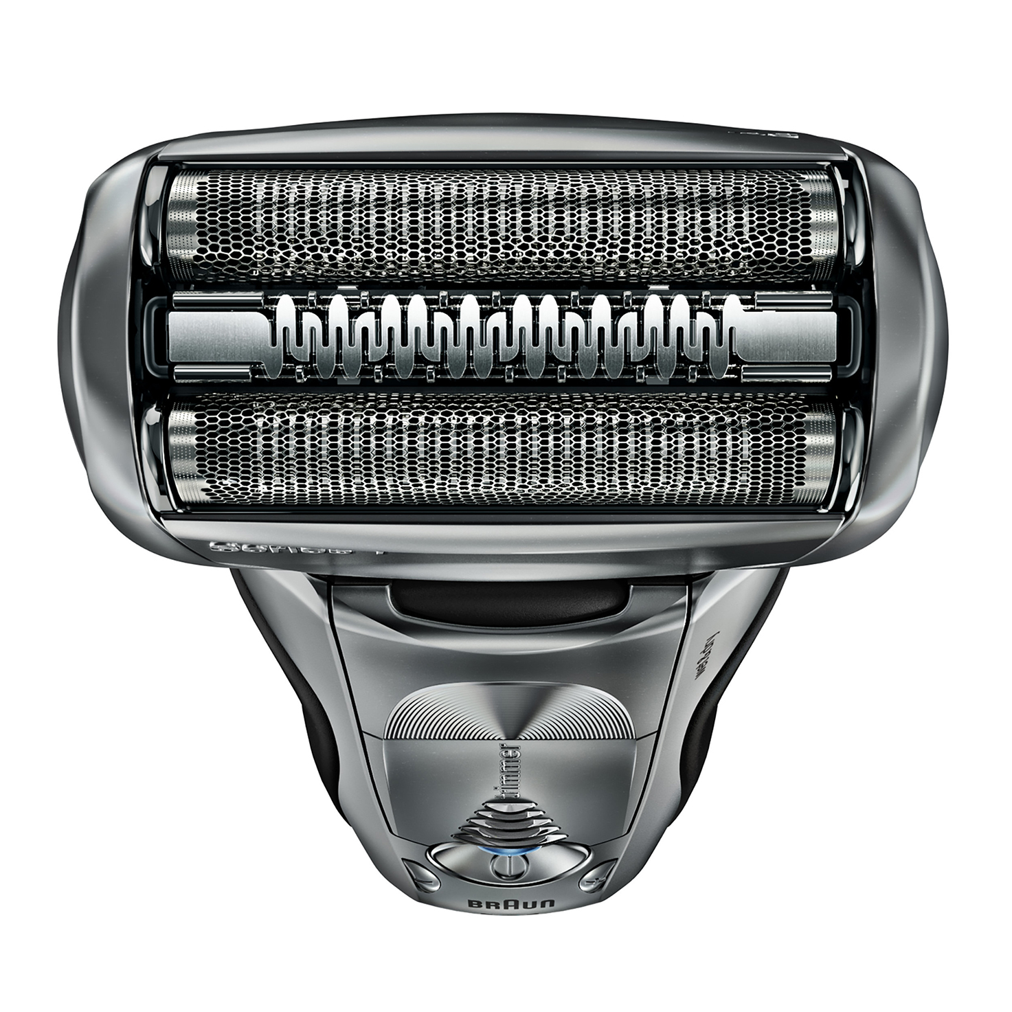 Braun Series 7 silver electric shaver in hand