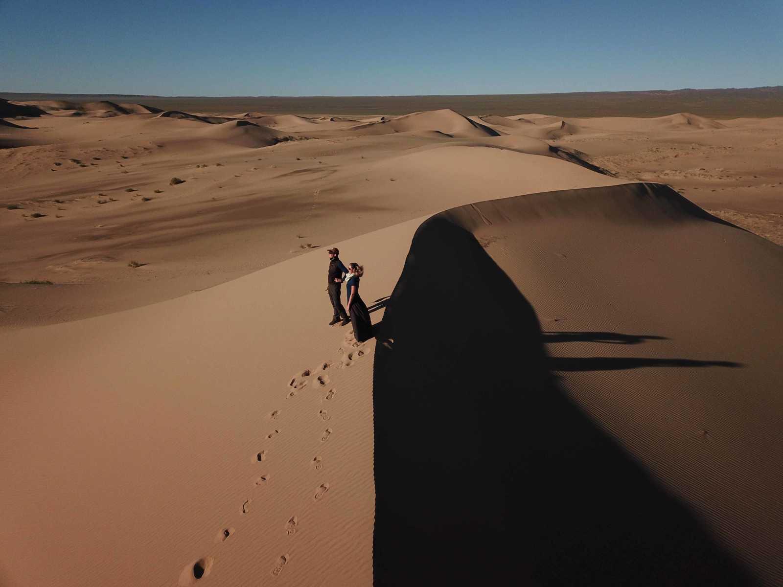Sunset in the Gobi Sand Dunes