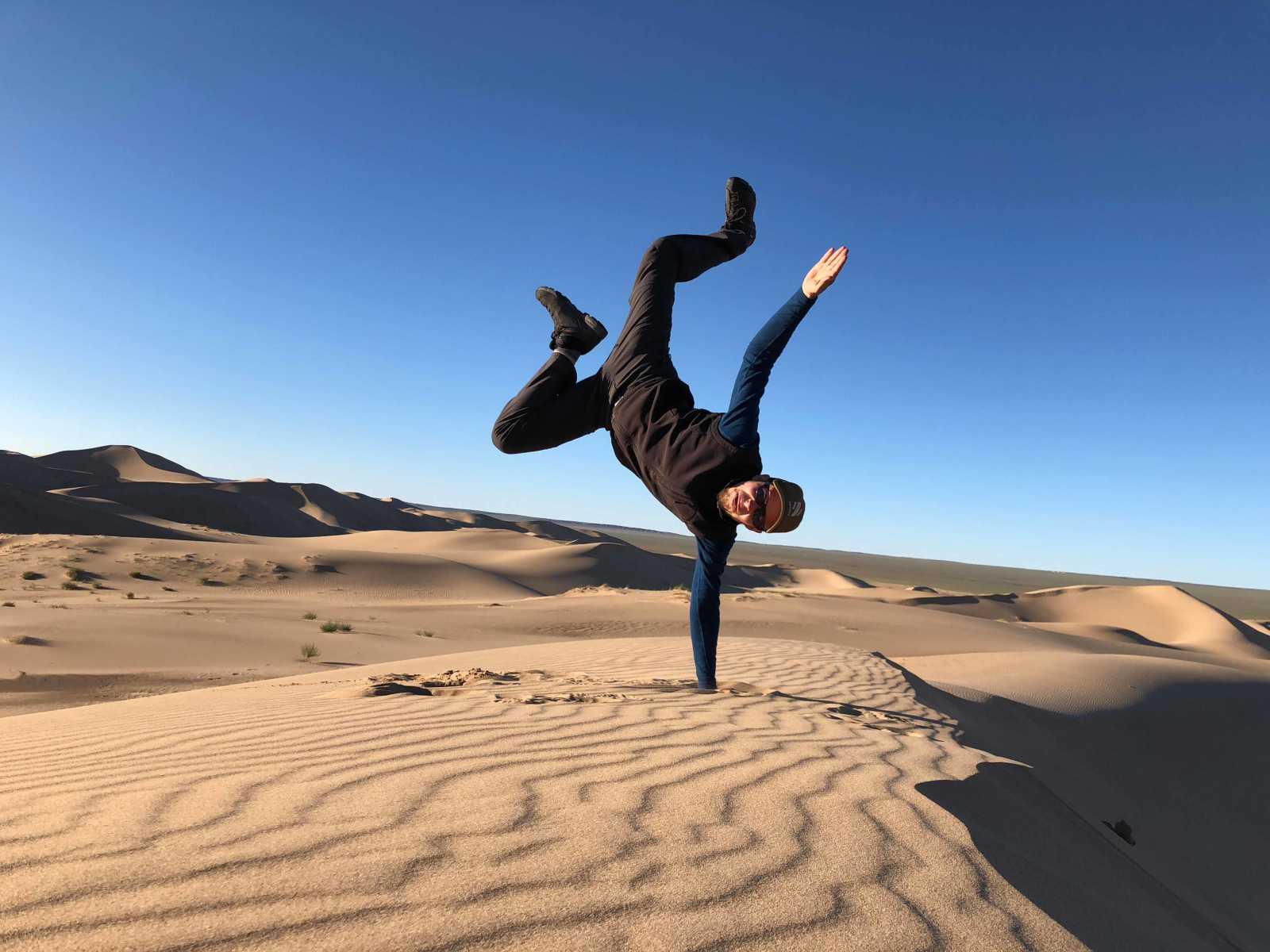 Having fun on the Gobi Sand Dunes