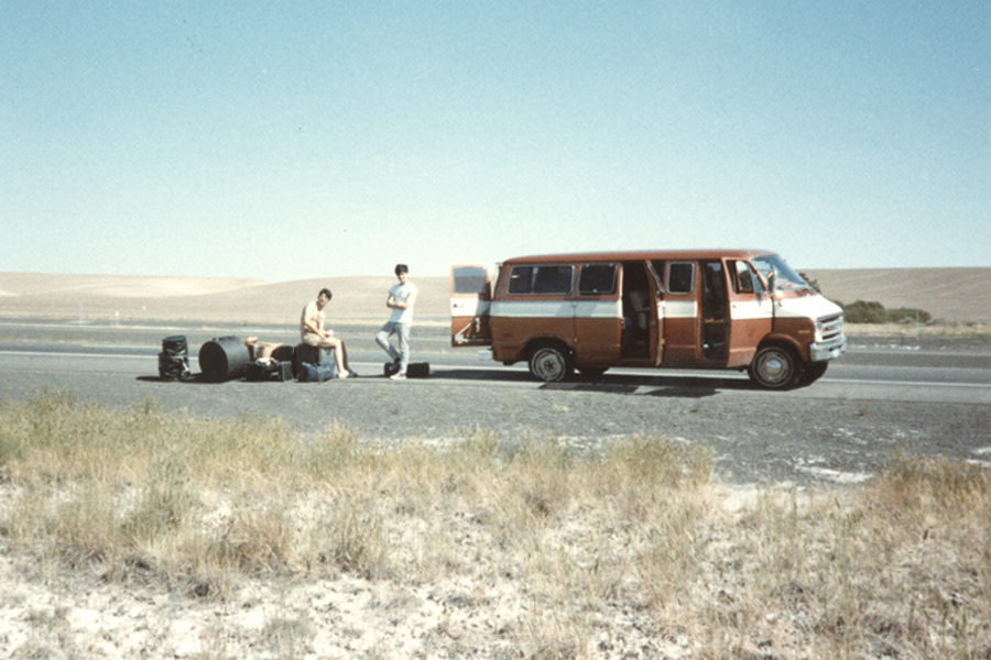 The Ex-Lion Tamers wait it out after blowing a tire in the desert.