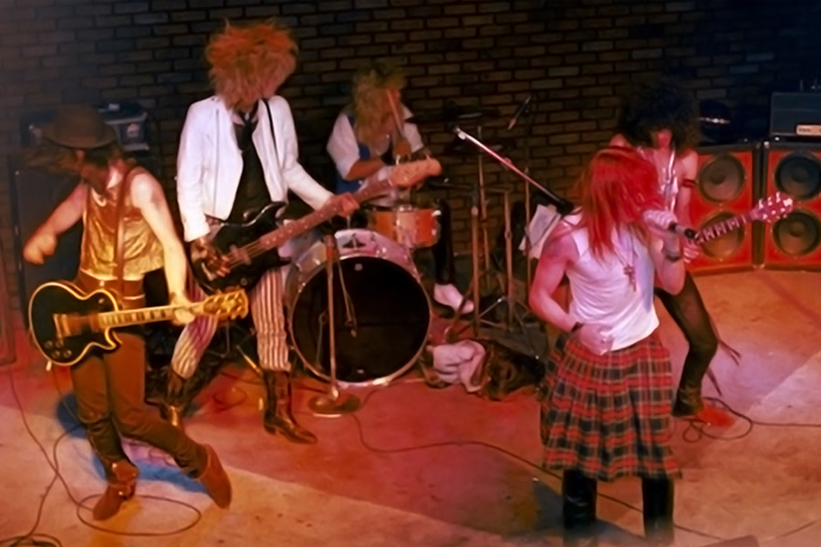 """Guns N' Roses play the Troubadour in Los Angeles on June 6, 1985, less than 48 hours before departing on their """"Hell Tour."""""""
