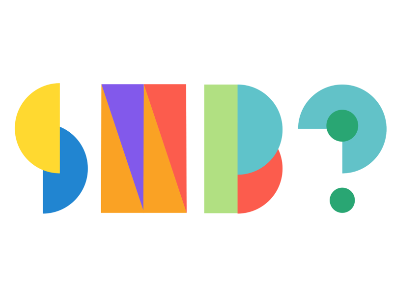 An image featuring three brightly colored shapes that represent the letters SMB followed by a question mark.