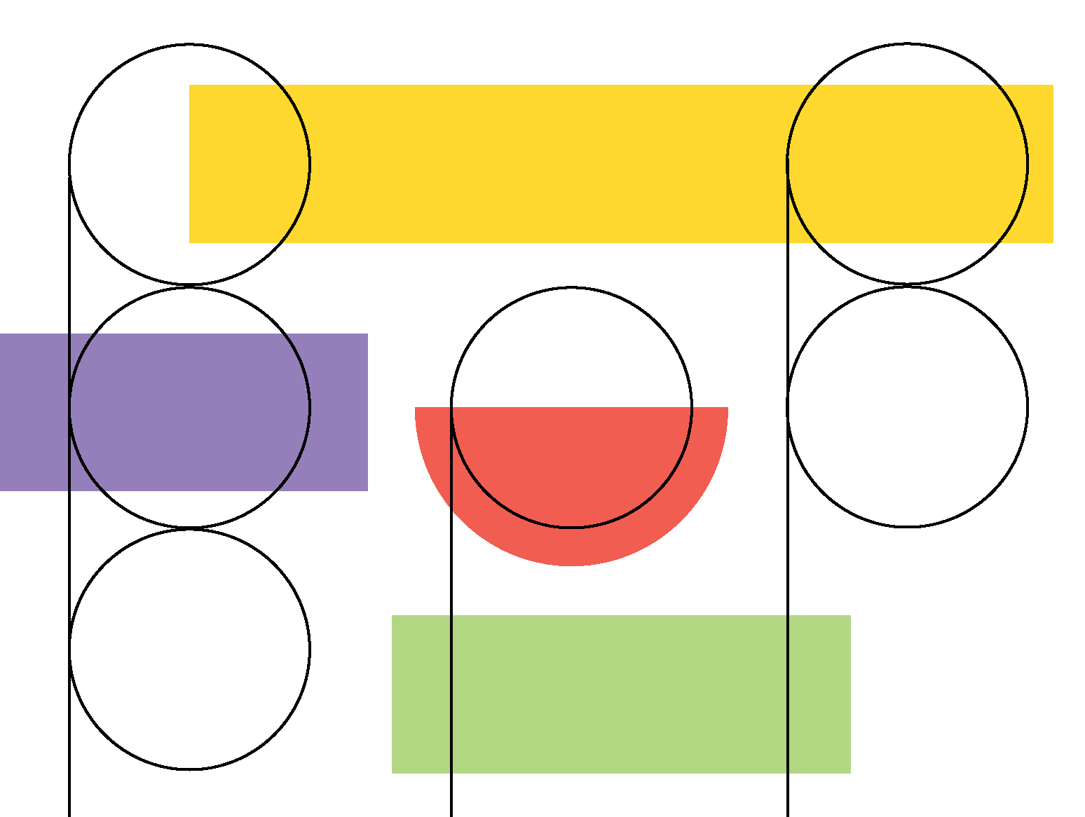Image of outlined circles against colorful shapes