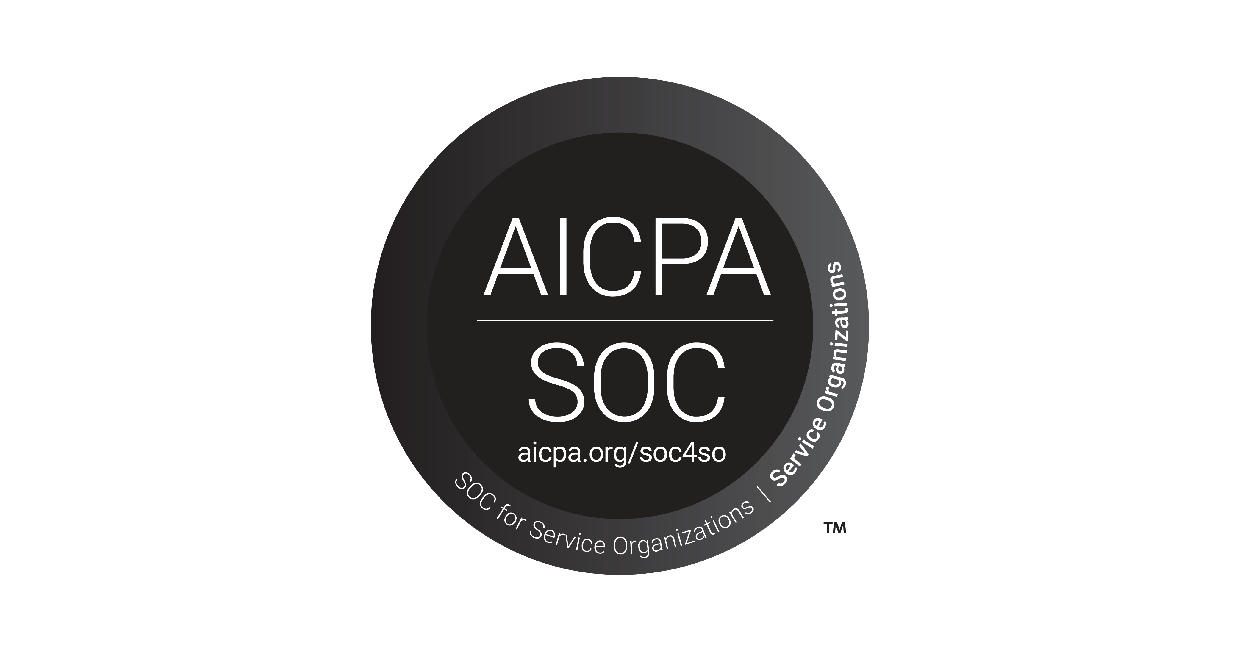 Image of black and white badge for AICPA SOC 2 security certification.