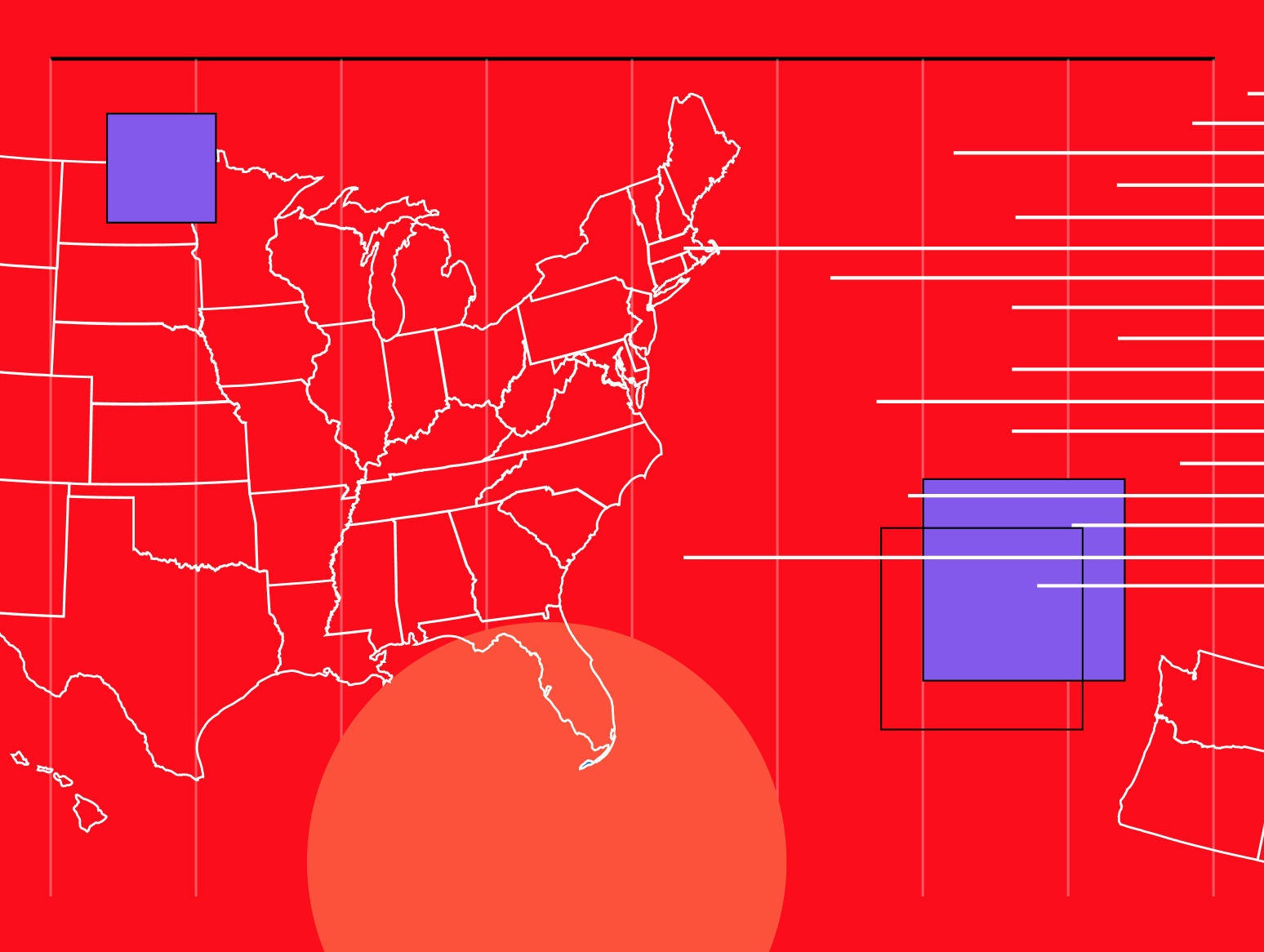 Image depicting US map against red background with abstract data visuals
