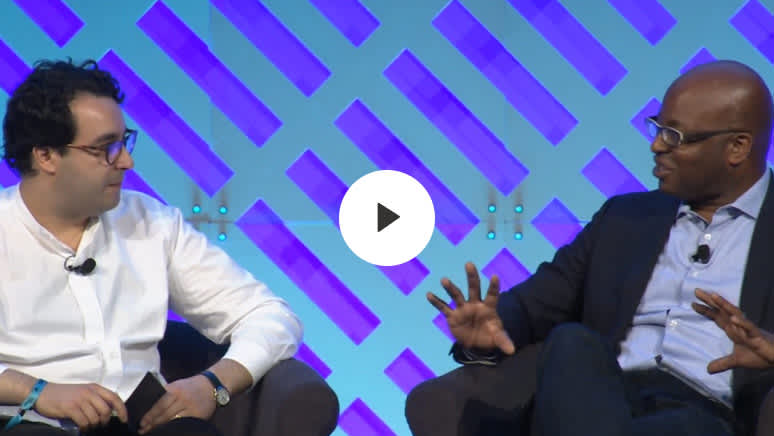 Enigma CEO and Co-Founder Hicham Oudghiri sits down with Senior Managing Director & Global CMO of BlackRock Frank Cooper III at Money2020 (2018).