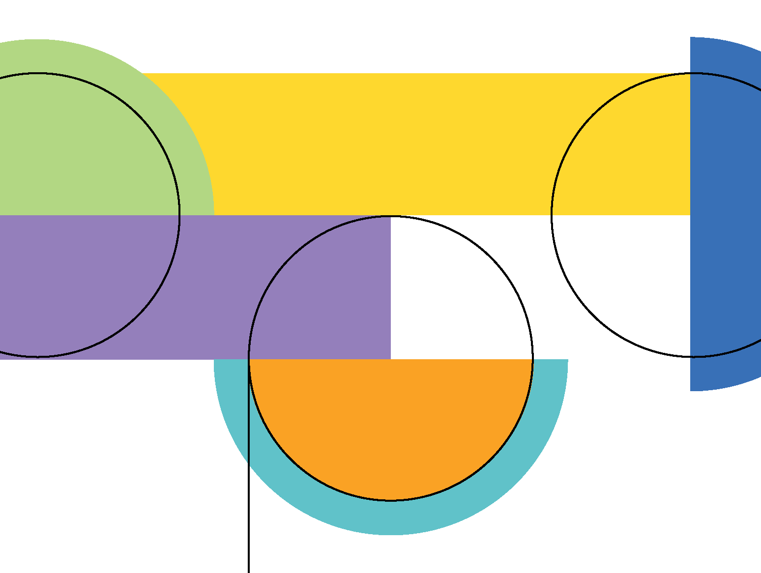 Abstract image of circles and colored rectangles.