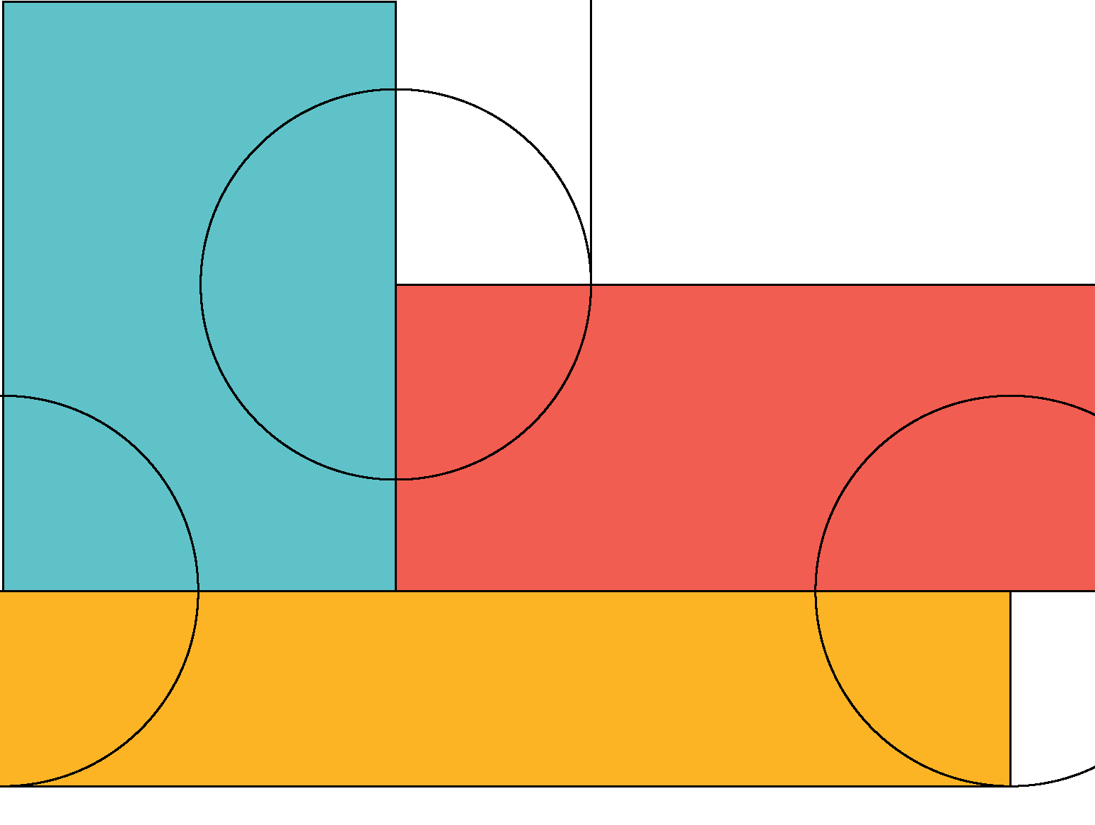 Abstract rendering of circles and colorful blocks