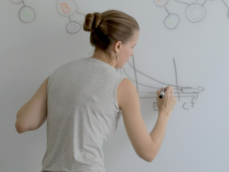 Woman drawing a graph on a whiteboard wall.