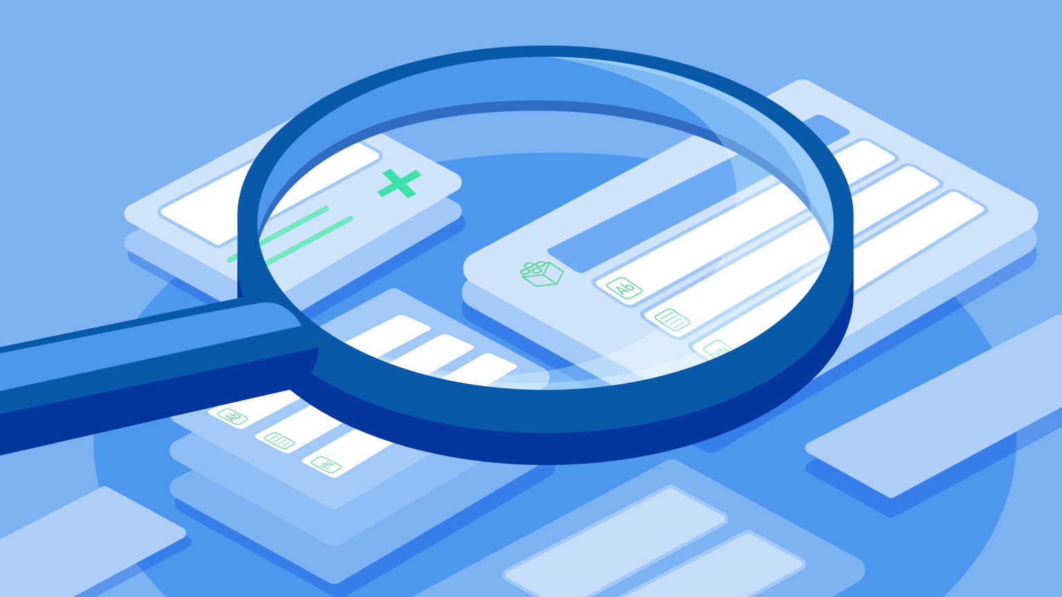 A magnifying glass leying on leaves, title of article: Using Contentful and investing in search engine optimization
