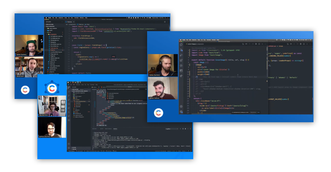 A screenshot of a live coding session with the cContentful DevRel team.