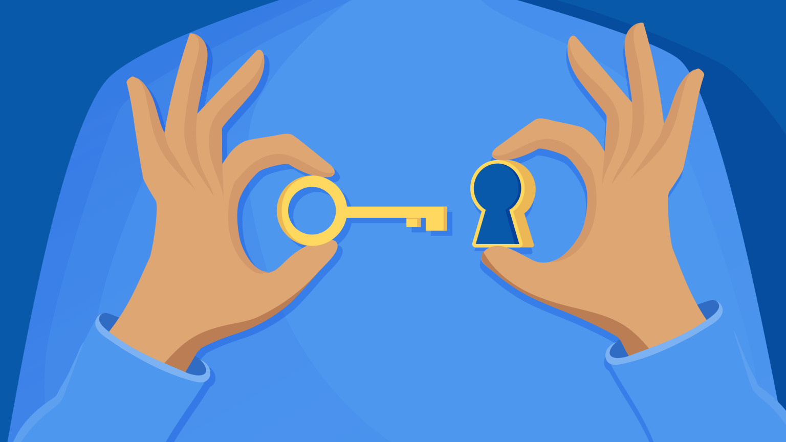 Illustration of a figure holding a key and a keyhole.