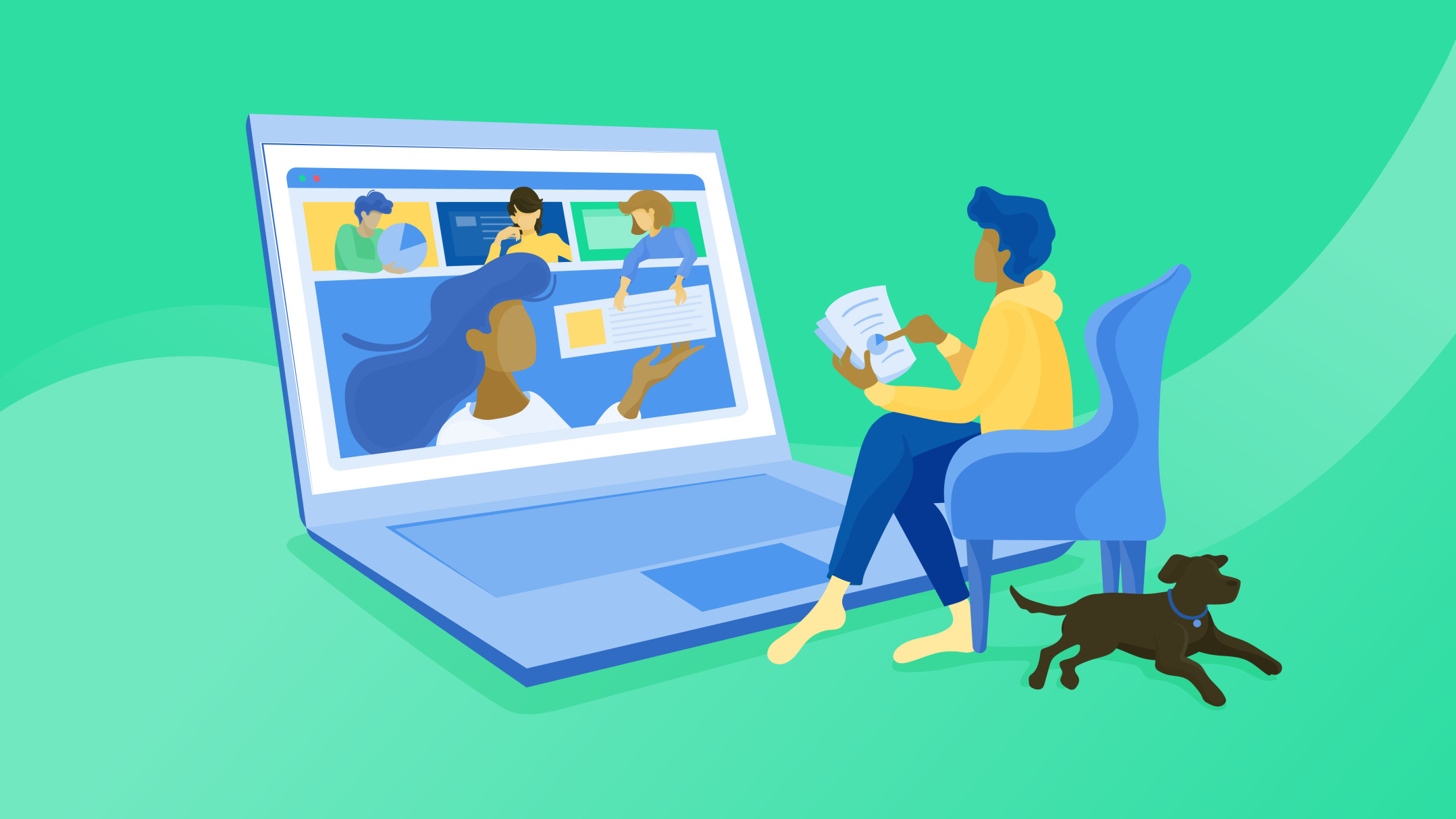 Illustration of someone with a puppy working at their oversized computer.