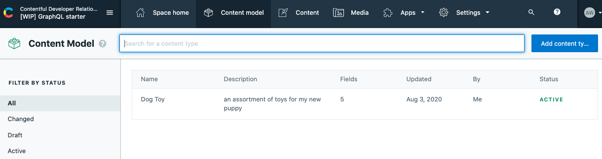 Set up a content model in Contentful and create the content type `dogToy`