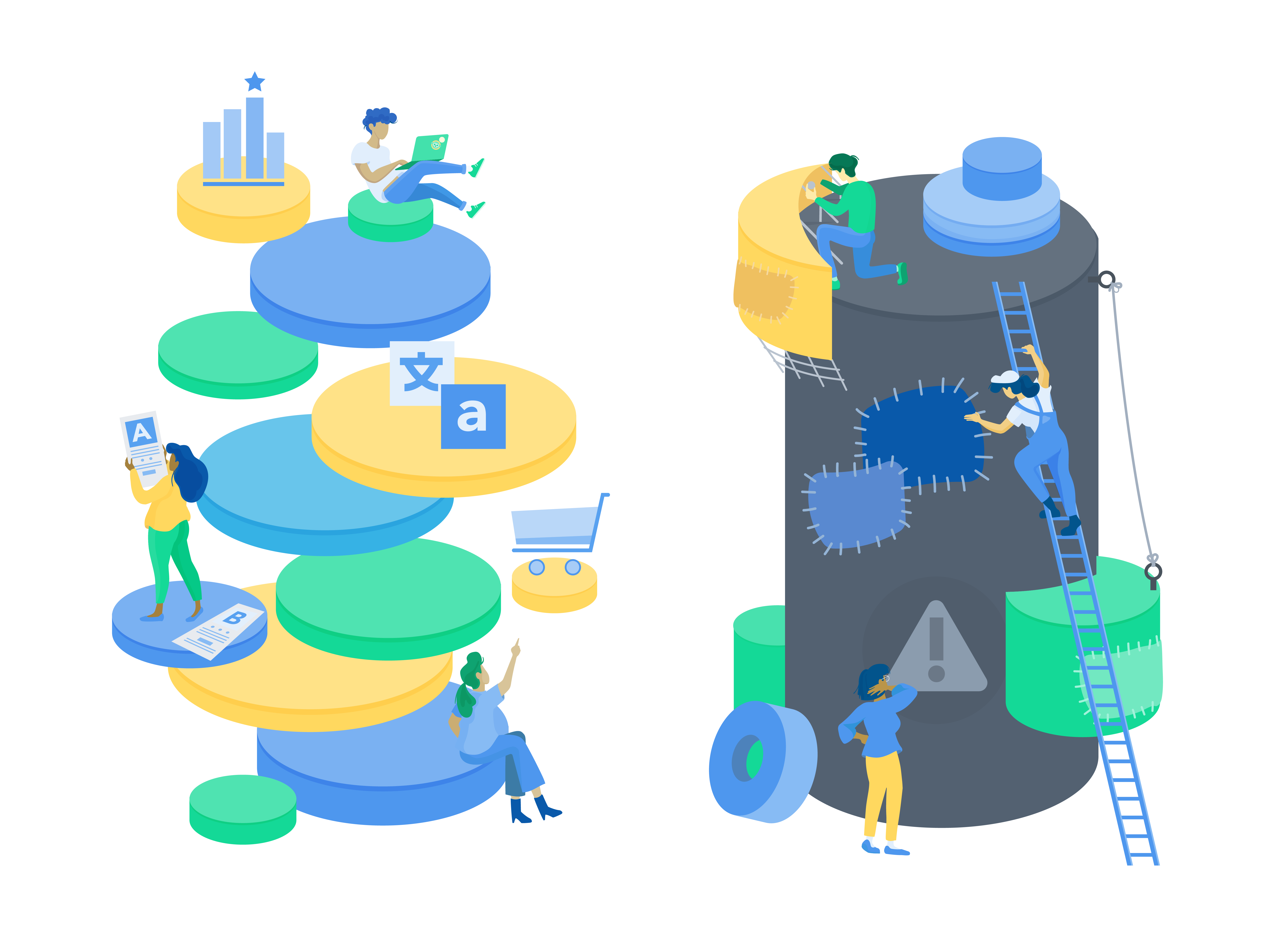 Illustration of the benefits of digital experience stacks versus monolithic suites