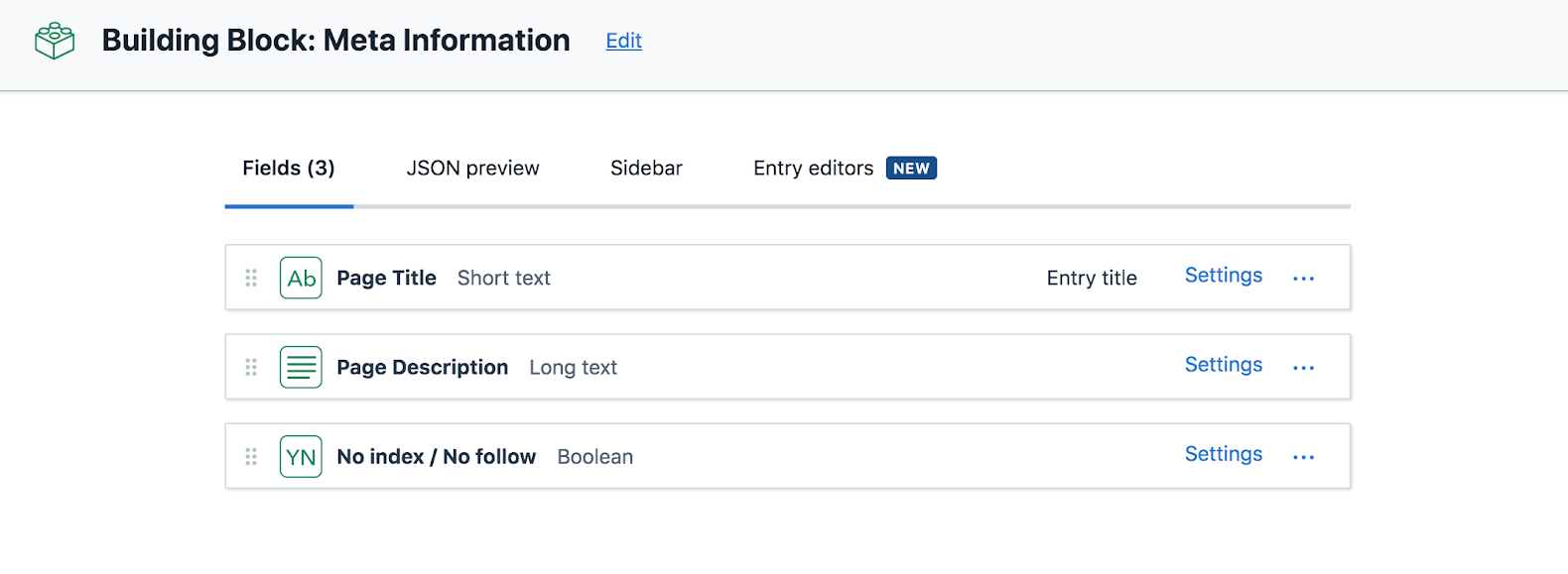 Adding metafields for titles and description in Contentful