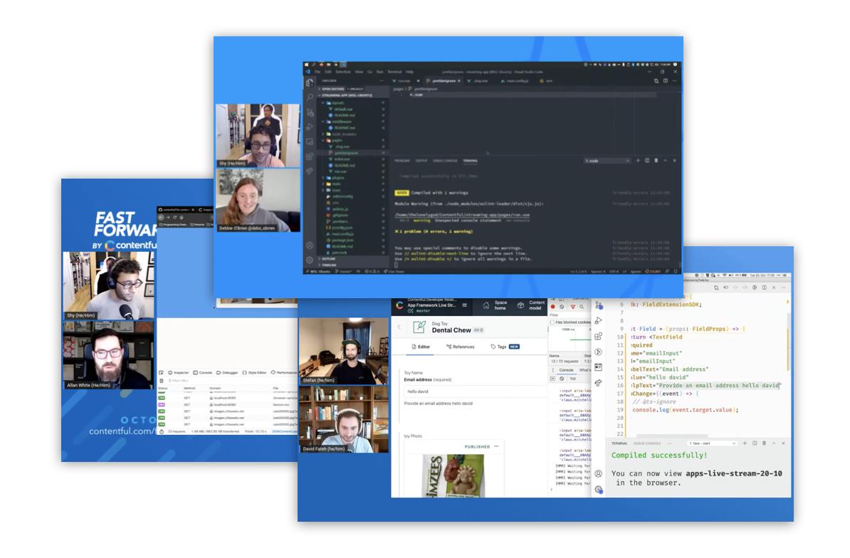 Screenshots of Contentful live coding events