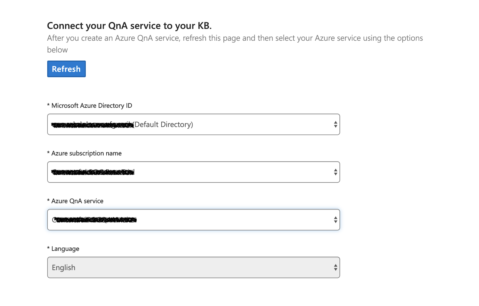 Go back and refresh to see your subscription name and Azure QnA service.