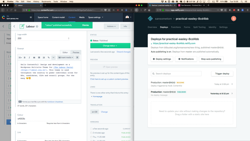 Testing the webhook setup: Deploying content