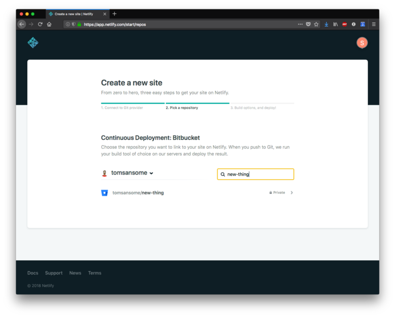 Creating a new site on Netlify