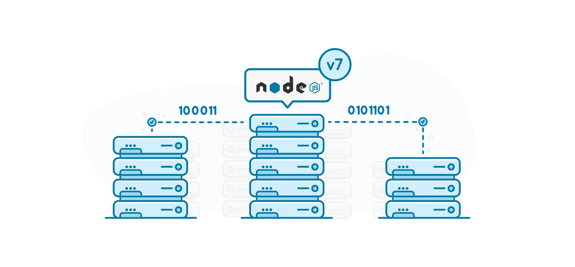Node.js logo on top of several servers