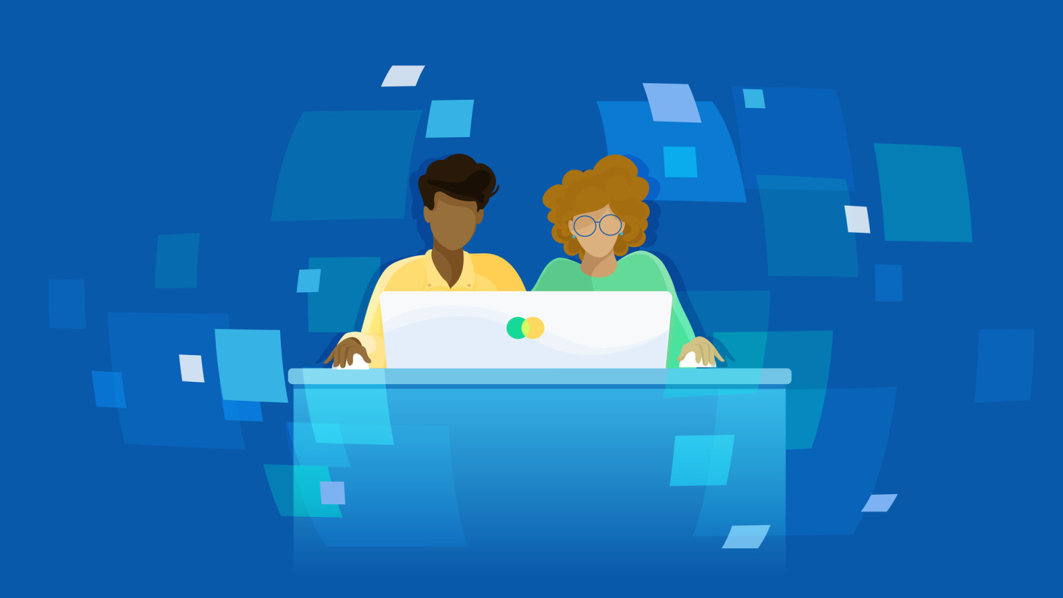 An illustration of two people sitting at a computer, each holding a mouse
