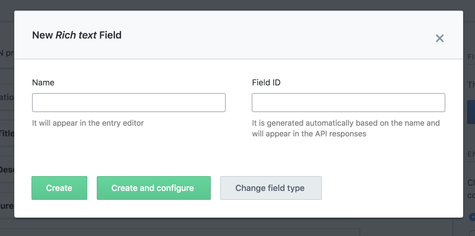 Screenshot of rich text field box on the Contentful app