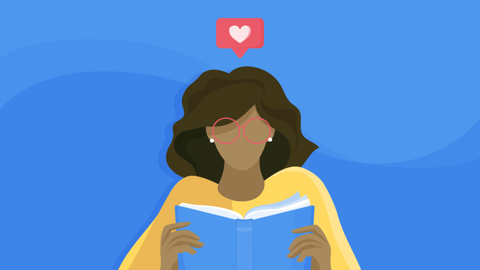 An illustration of a person reading a book with a heart notification above their head.