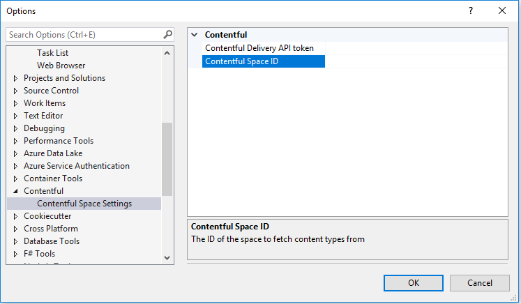 Visual Studio settings to install the Contentful plugin