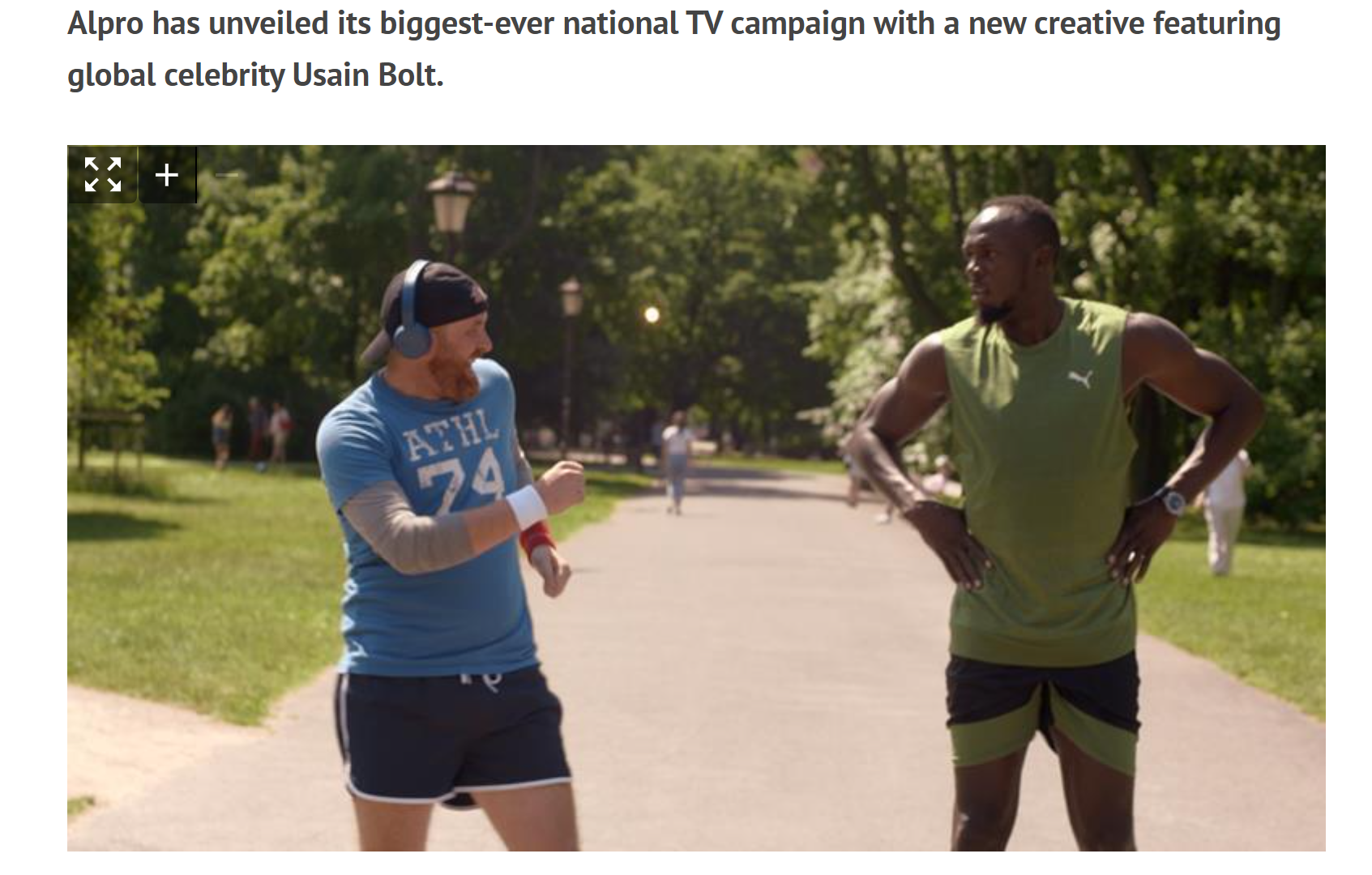 Screenshot of reporting on the Usain Bolt campaign