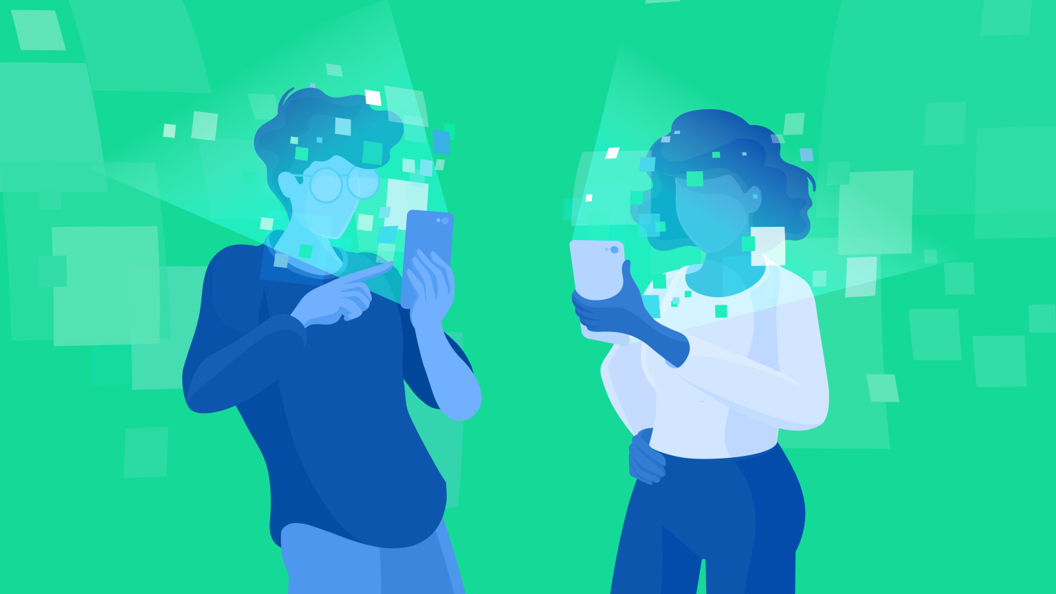 Illustration to two indviduals looking at very bright phone screens