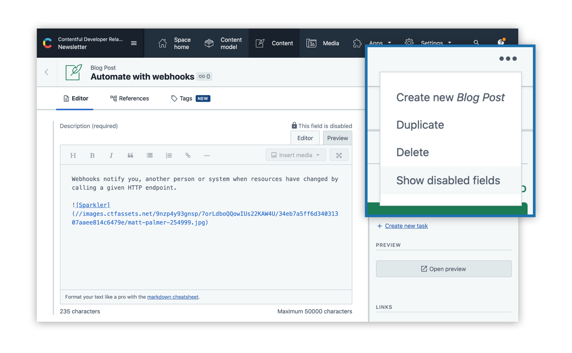Scrrenshot of Contentful web app showing how to show disabled fields