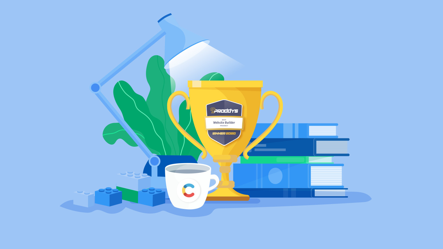 An illustration of a trophy with Proddy written on it sitting among a stack of books, a Contentful branded mug, a plant and a desk lamp.