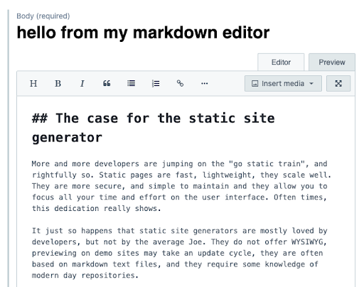 you just enriched the Markdown editor with your headline