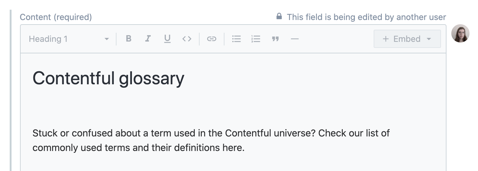 The final result of the Contentful glossary