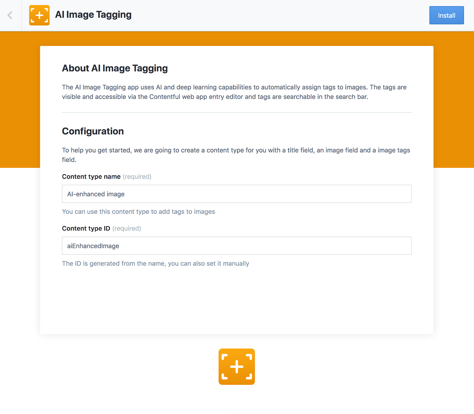 The AI image taggingAPI installation screen