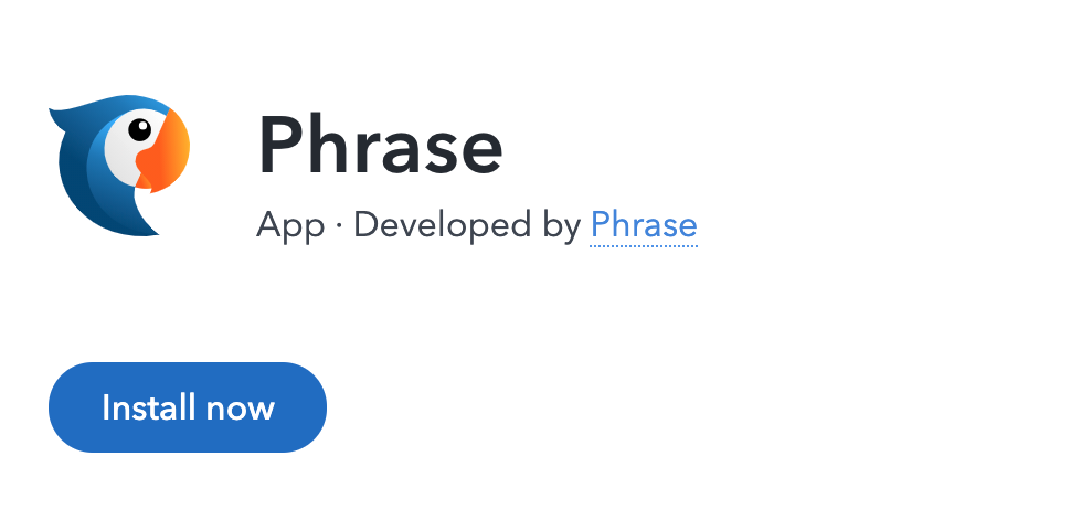 Screenshot of the Phrase app logo and name as seen in the Contentful app marketplace